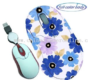 Mini Optical Mouse with Retractable Wire