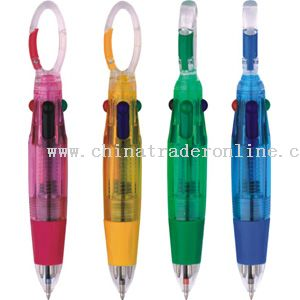 4-colors pen with carabiner clip