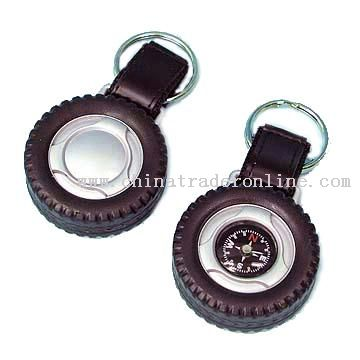 TIRE  SHAPE KEYCHAIN WITH COMPASS
