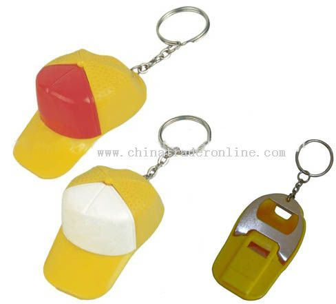 cap shape keychain Bottle opener with whistle