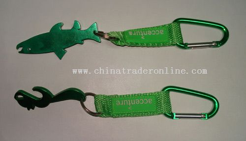 Strap bottle opener with carabiner