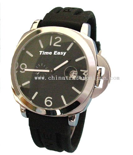 Stainless steel case and genuine band watch