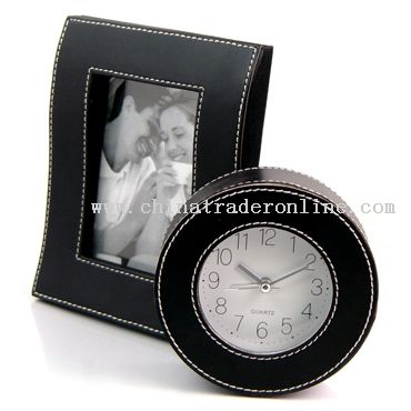 A sets of Leather photo frame and alarm clock