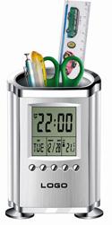 Calendar/clock with pen holder