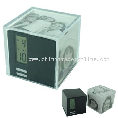 Cube Photo Frame with LCD alarm clock