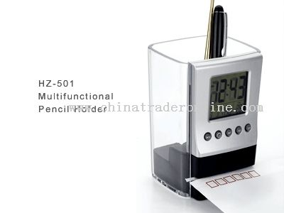 Pen Holder with Calendar Temperature and Envelope cutting