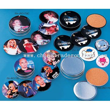 Tin Coasters and Tin Badge