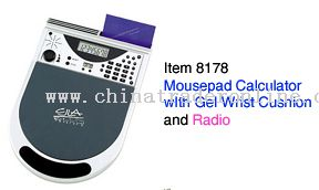 Mousepad Calculator With Gel Wrist Rest And FM Radio