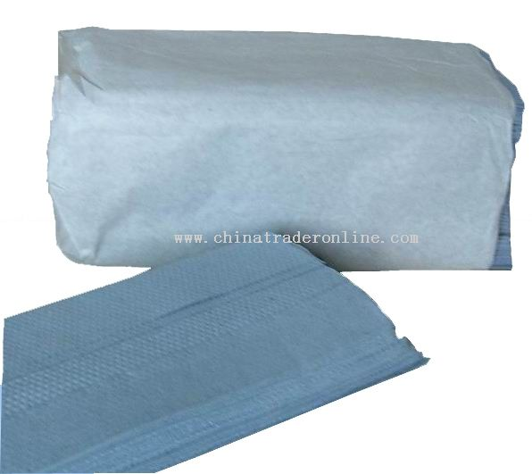 C-fold blue recycled hand towel