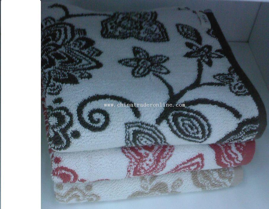 flower jacquard towel