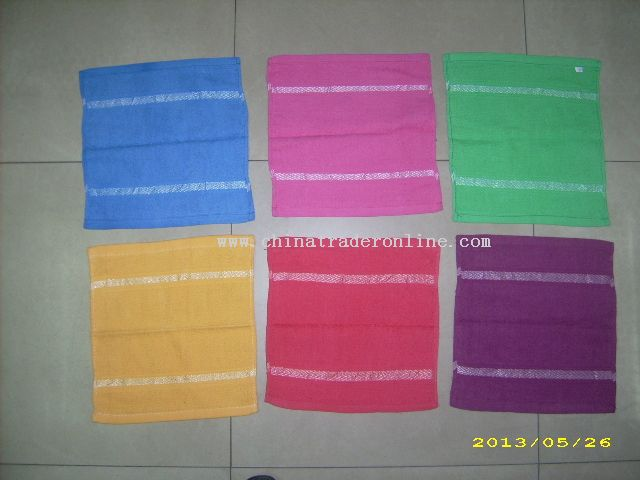 Terry hand towel with satin board
