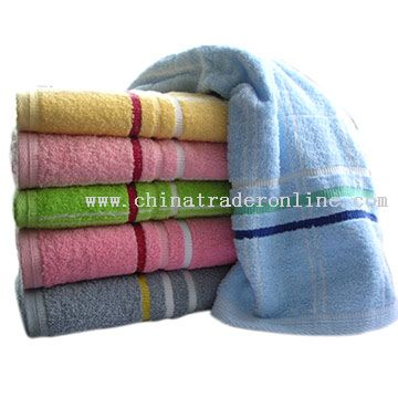 Solid Terry Bath Towel with Border