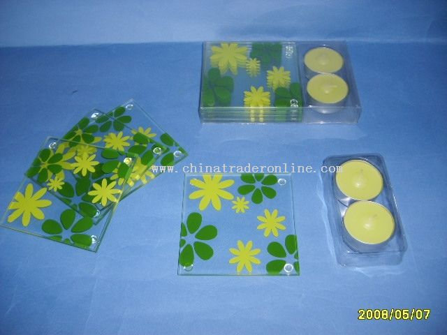 glass coaster with tea lights -promotion gift from China