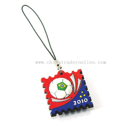 Mobile Phone Strap With Screen Cleaner for World Cup 2010