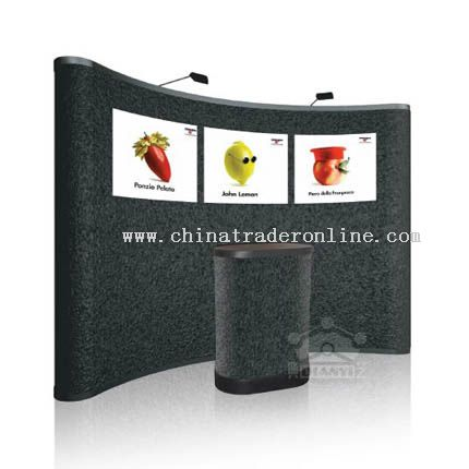 3-4 pop up display with fabric panel