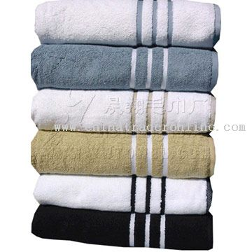 Cotton Bath Towel with Satin Border from China