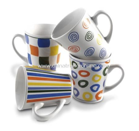 Coffee mugs in colourful design (0.25 litre) in a gift box, 4pc (D)