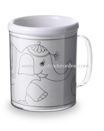 Drawing mug, with three colouring pictures