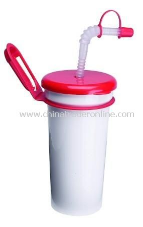 Drinks Cup with Cap, Clip and Straw