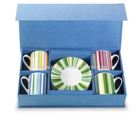 Set of mugs (0.20 litre) and saucers in a gift box, 8pc (D)