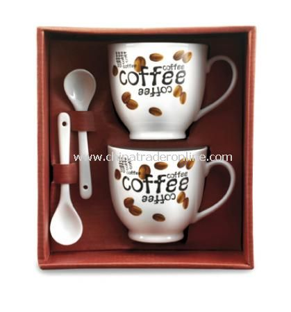 Set of two coffee mugs (0,15 litre) and two spoons in a gift box, 4pc