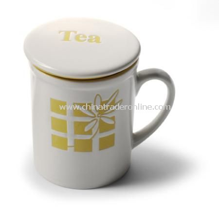 Tea mug with tea strainer and lid.