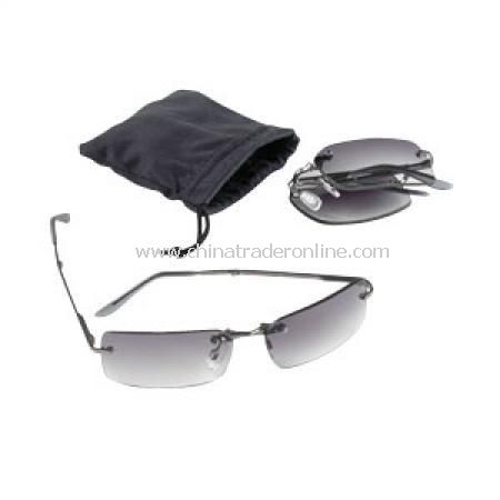 Rimless Folding Sunglass in Pouch from China