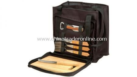 BOTTLE PICNIC BAG  With cheese knife, normal knife, 2 forks, opener and cutting board
