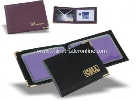 Leather Credit Cardholder with clear pockets from China