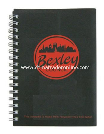 Recycled A5 tyre-covered Wiro notepads