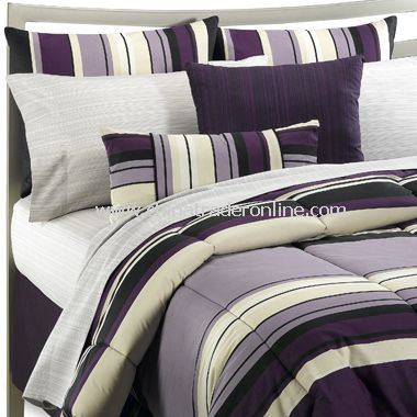 Microfiber Reversible Comforter Sets,Glam Stripe Bed Set,Products ...