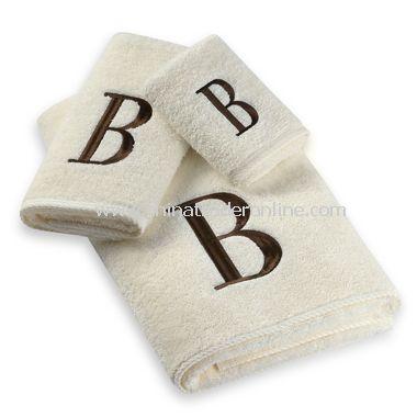 Avanti Premier Brown Block Monogram on Ivory Bath Towels, 100% Cotton