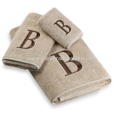 Avanti Premier Brown Block Monogram on Linen Bath Towels, 100% Cotton