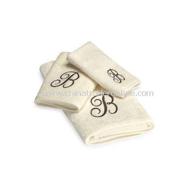 Avanti Premier Brown Script Monogram on Ivory Bath Towels, 100% Cotton