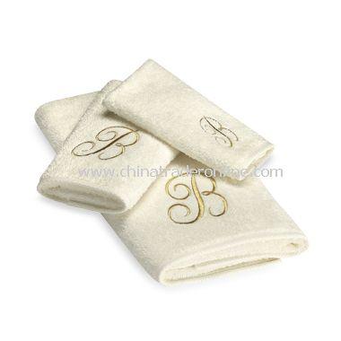 Avanti Premier Gold Script Monogram on Ivory Bath Towels, 100% Cotton