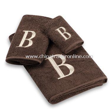 Avanti Premier Ivory Block Monogram on Mocha Bath Towels, 100% Cotton