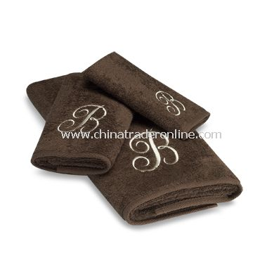 Avanti Premier Ivory Script Monogram on Mocha Bath Towels, 100% Cotton