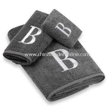 Avanti Premier Silver Block Monogram on Granite Bath Towels, 100% Cotton