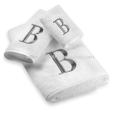 Avanti Premier Silver Block Monogram on White Bath Towels, 100% Cotton