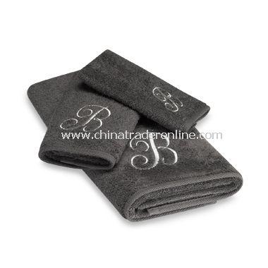 Avanti Premier Silver Script Monogram on Graphite Bath Towels, 100% Cotton