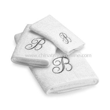 Avanti Premier Silver Script Monogram on White Bath Towels, 100% Cotton