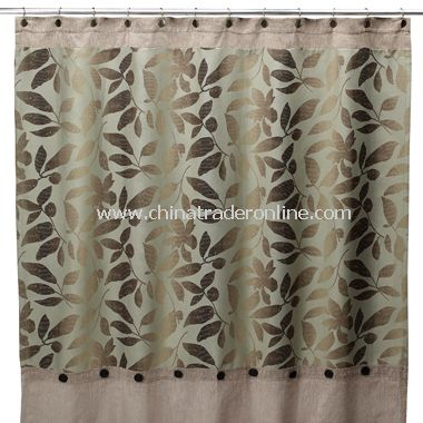 B. Smith Ombre Leaves Fabric Shower Curtain