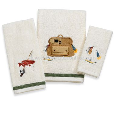 Bait N Tackle Bath Towels by Saturday Knight Limited, 100% Cotton from China