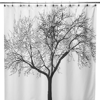 Black Tree Fabric Shower Curtain