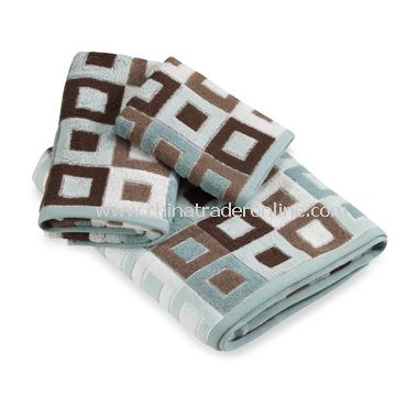 City Squares Blue Hand Towel
