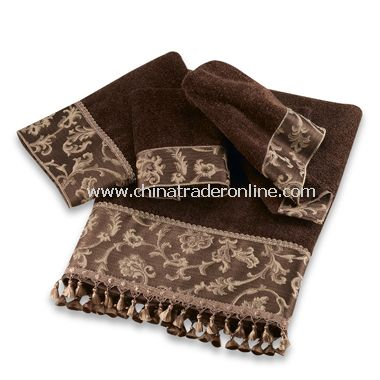 Damask Fringe Mocha Towels by Avanti, 100% Cotton