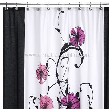 Curtains Ideas black shower curtain with white flower : Daintree Fabric Shower Curtain,Dancing Flowers Fabric Shower ...