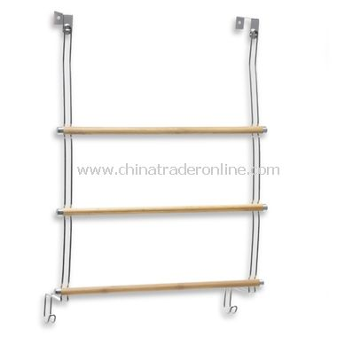 Formbu Natural Bamboo Over-The-Door 3-Bar Towel Rack