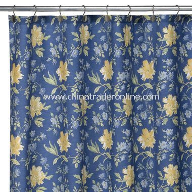 Laura Ashley Emilie Fabric Shower Curtain, 100% Cotton