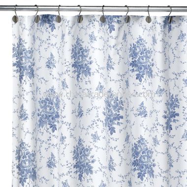 Laura Ashley Sophia Blue Fabric Shower Curtain